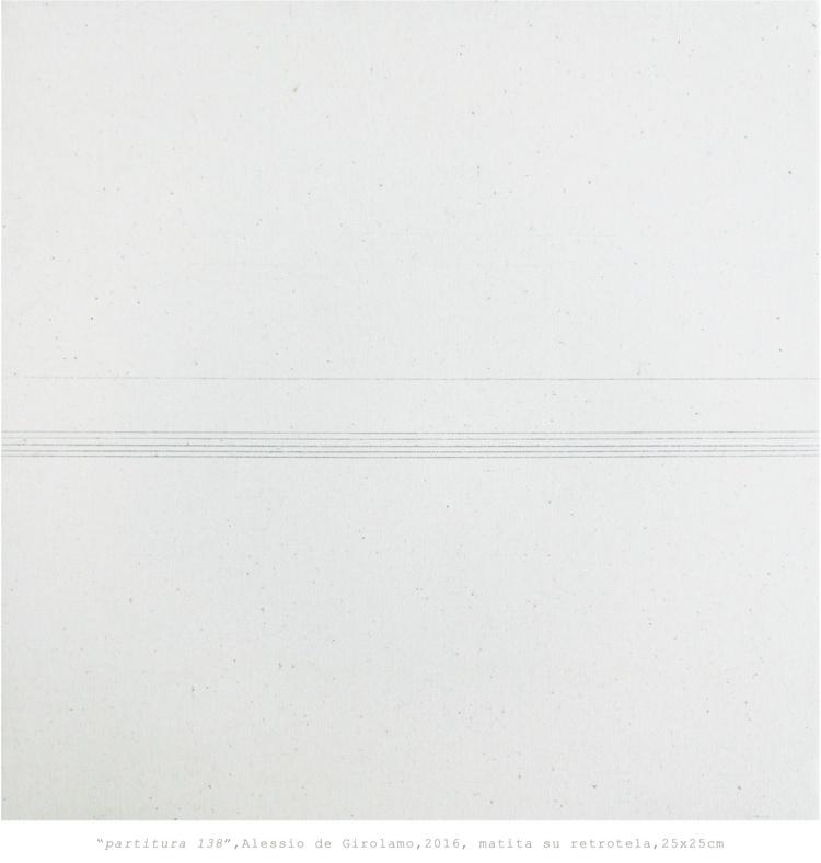 Alessio de Girolamo, Pentagramma 138, 2016, matita su retro-tela, 25x25 cm