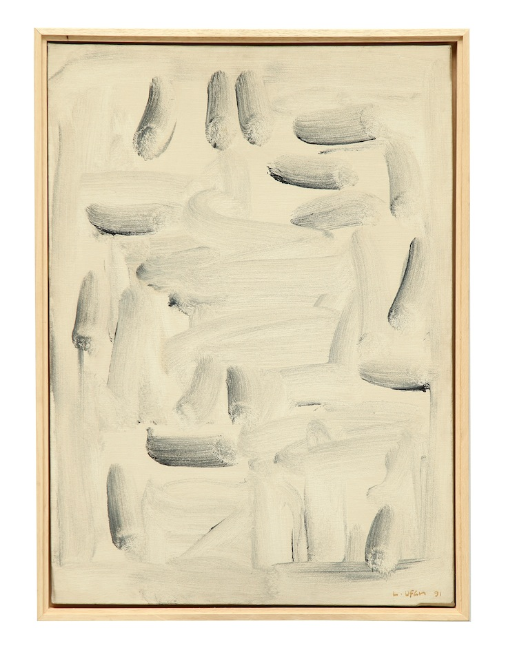 Lee Ufan, With winds, 1991, olio e pigmenti minerali su tela, 70 x 50 cm Courtesy Lorenzelli Arte, Milano