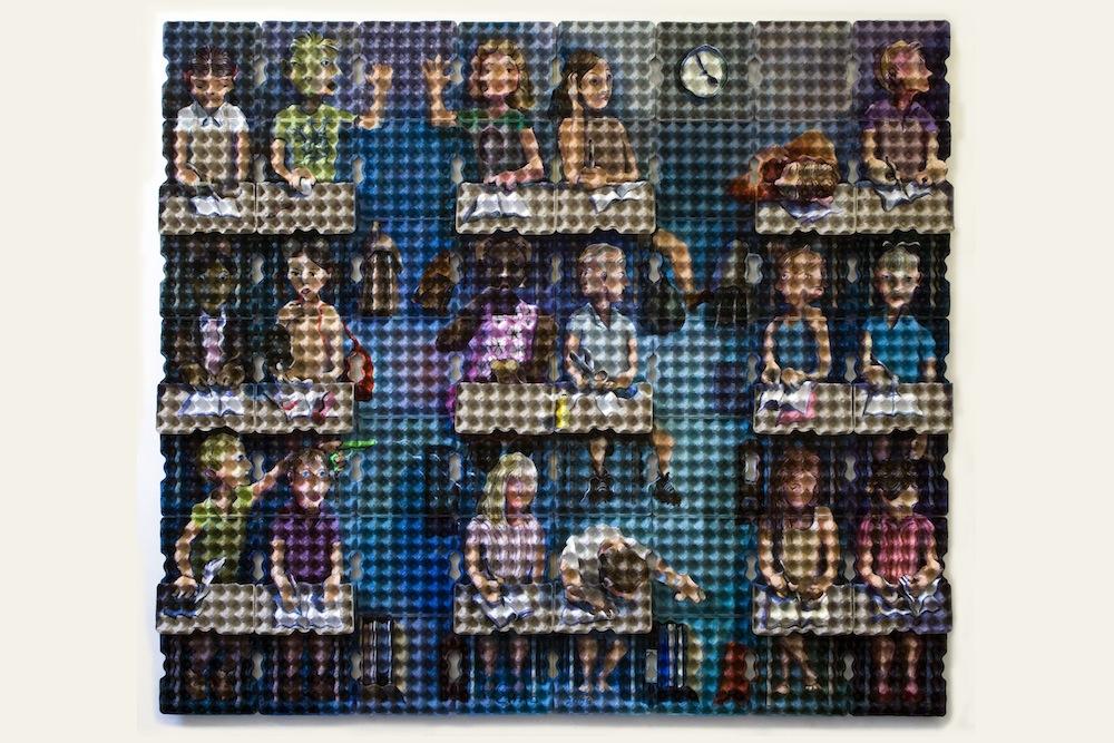 """Enno de Kroon - """"Classroom"""", 2008. Acrilico su cartone per uova, 245x217x10 cm. Collezione G. M. Vink. ©Enno de Kroon, Rotterdam, Paesi Bassi"""