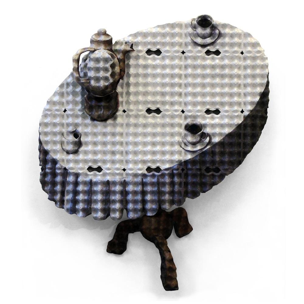 """Enno de Kroon - """"Table"""", 2011. Acrilico e paperclay su otto strati di cartoni per uova, 155x120x38 cm. Collezione privata. ©Enno de Kroon, Rotterdam, Paesi Bassi"""