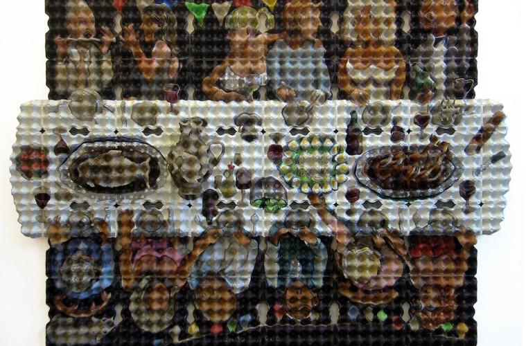 """Enno de Kroon - """"Village party"""", 2008. Acrilico su quattro strati di cartoni per uova, 154x209x20 cm. Collezione Bennemeer-Michon. ©Enno de Kroon, Rotterdam, Paesi Bassi"""