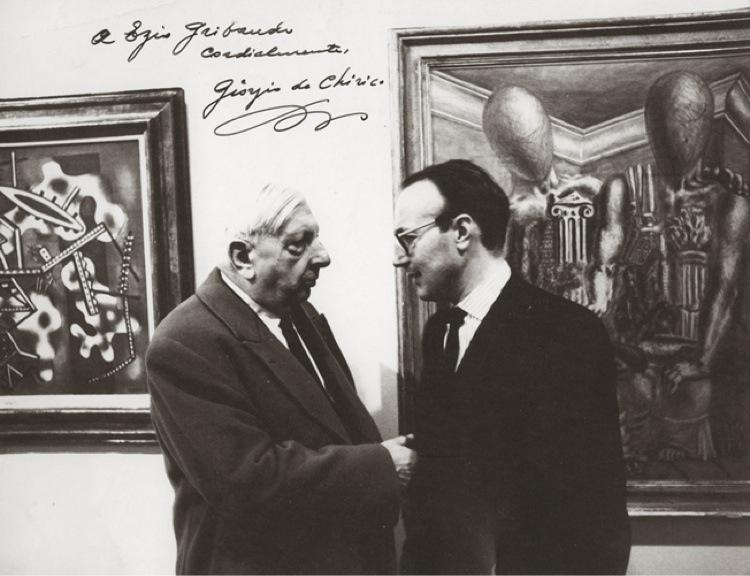 Ezio Gribaudo con Giorgio De Chirico, Roma 1968