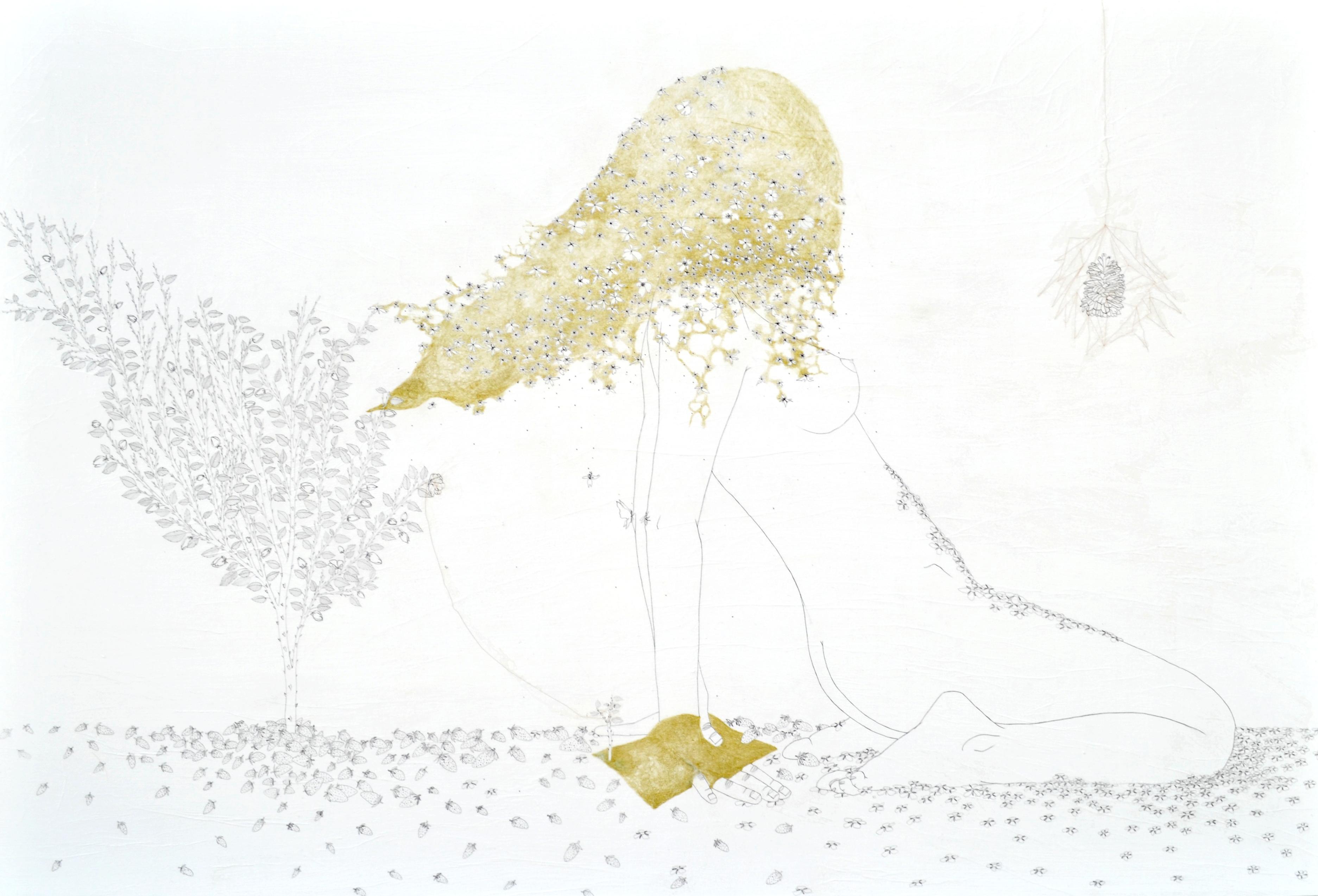 Tamara Ferioli, Flickering sun-flame obsession. 2015 matite e capelli su carta giapponese intelata, 100x150 cm