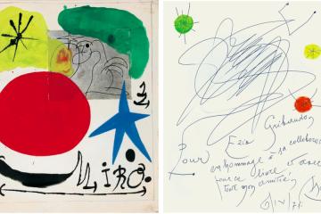 Joan Mirò, Senza titolo, 1970, tecnica mista su carta, 30x25 cm e dedica ad Ezio Gribaudo