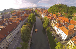 Areal photo of Ljubljana, capital of Slovenia. View from above on the historic centre of the city. photo Aarstudio, Mostphotos