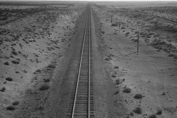 Dorothea Lange, Western Pacific Line Runs Through Unclaimed Desert of Northern Oregon, Morrow County, Oregon, 1939