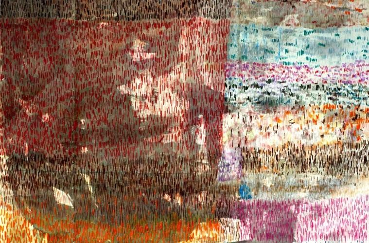 Anna Capolupo, Don't be afraid of emptiness, ( Coperta#1) acquerello, pastelli e filo di cotone cucito su carta, carta cm 115 x 110 cm