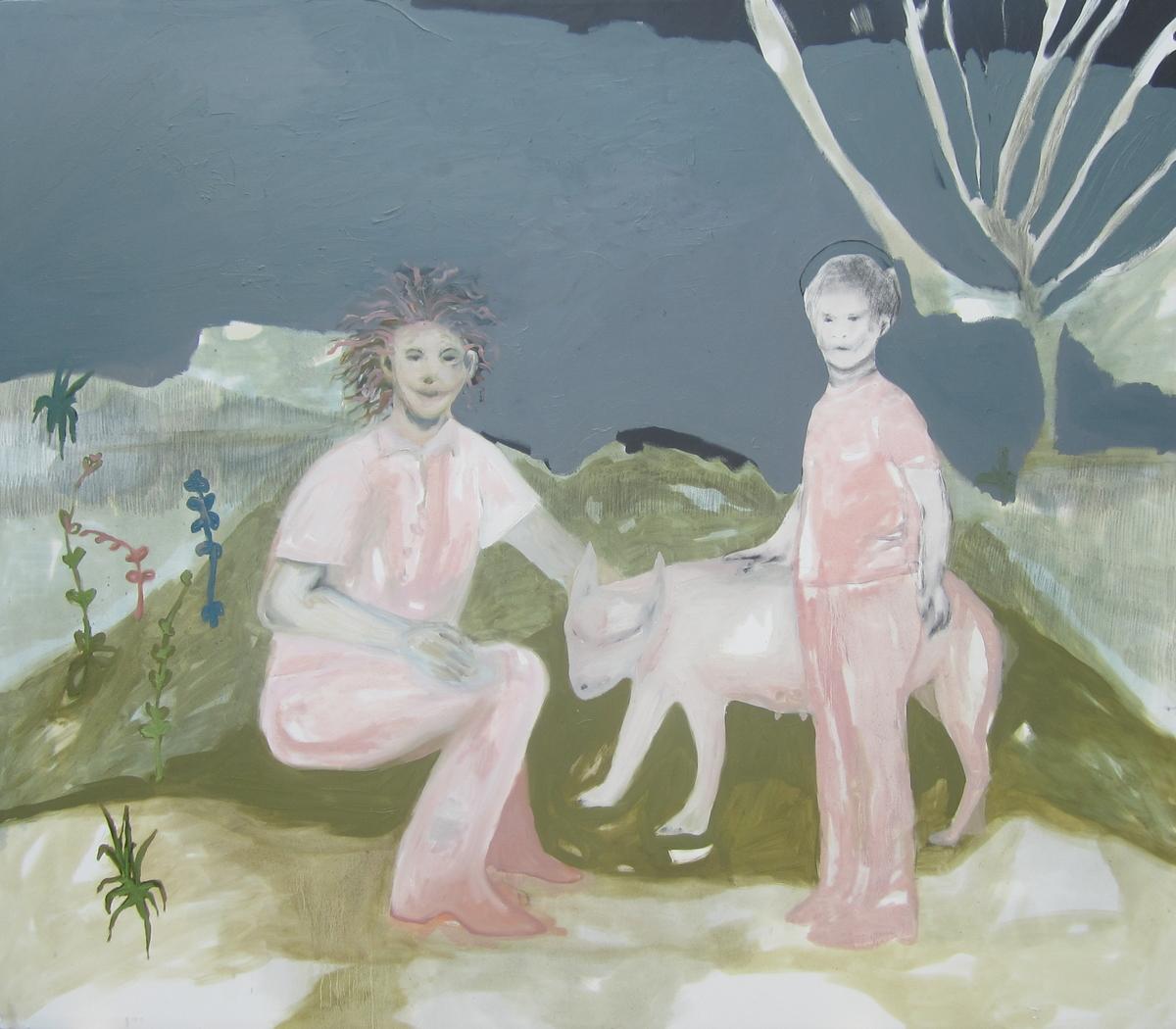 Greta Pllana, Fiori d'aprile, cani che allattano olio e graffite, tela 160x140