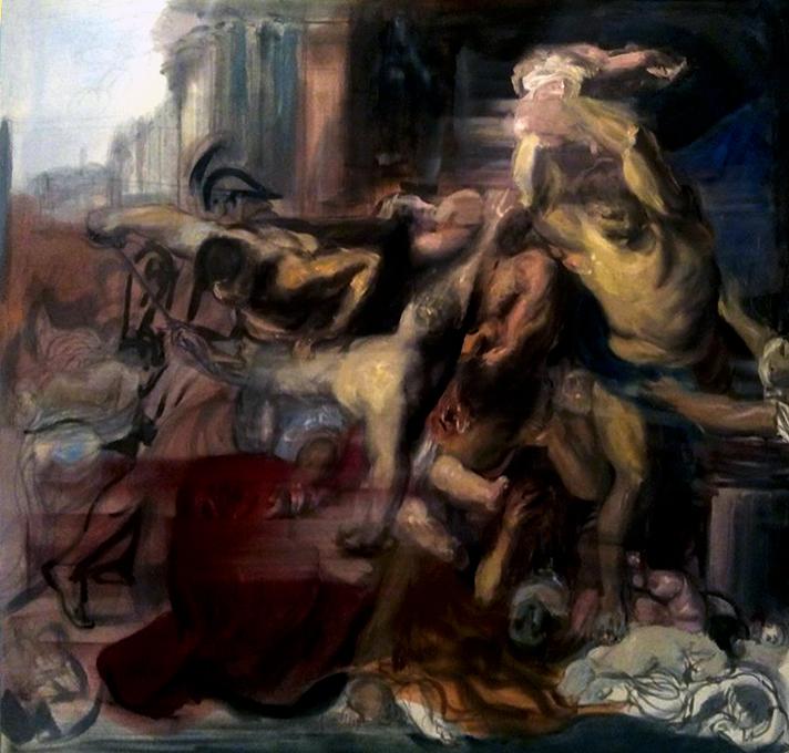 Federico Lombardo, Generativo4, olio su tela 180x180cm 2016