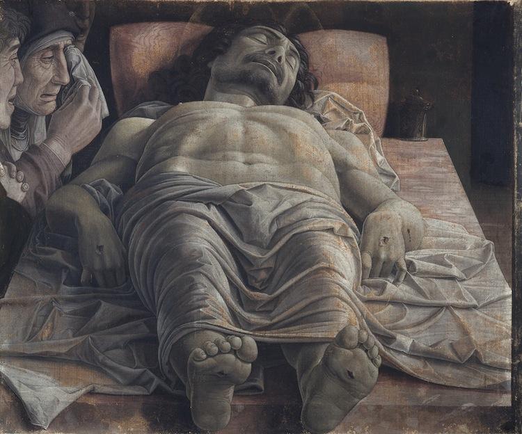 Andrea Mantegna, Cristo morto nel sepolcro e tre dolenti, 1470-1474, tempera su tela, 68x81cm, Pinacoteca di Brera, Milano