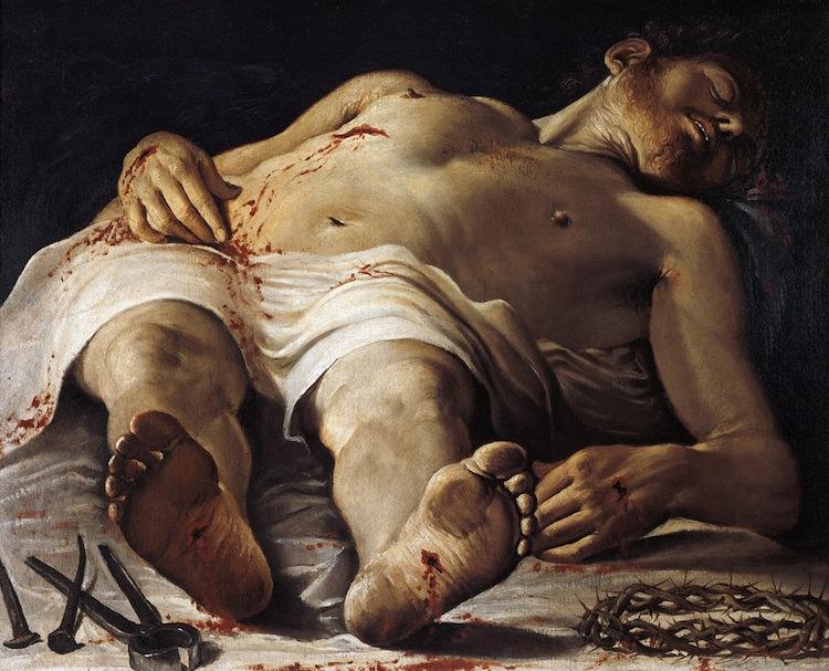 Annibale Carracci, Cristo morto e strumenti della Passione, 1583-1585, olio su tela, 70.7x88.8, Staatsgalerie, Stuttgart