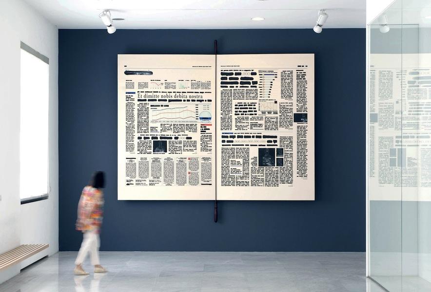 Emilio Isgrò, Cancellazione del debito pubblico, 2011, libro e tecnica mista su tela montata su legno, 280x400 cm, Università Commerciale Luigi Bocconi, Milano