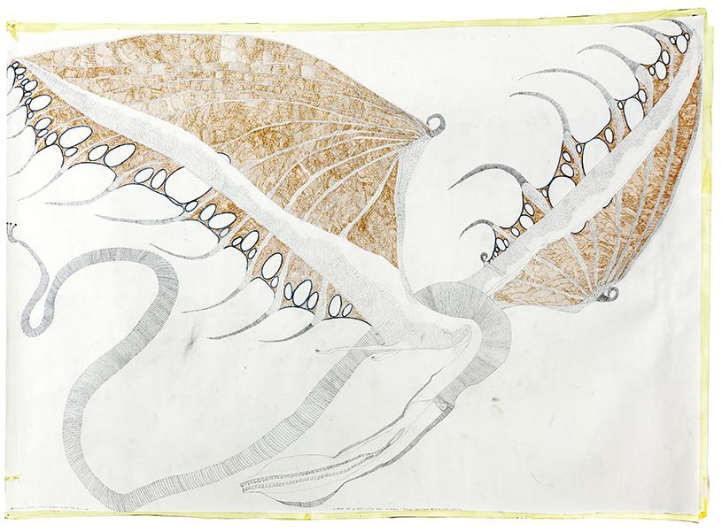"""Giulia+Laura, Atelier dell'Errore, """"La Fenice che di notte castiga Davide che picchia i bambini"""", 2015, tecnica mista su carta, 198 x 273 cm, Courtesy and © Atelier dell'Errore"""