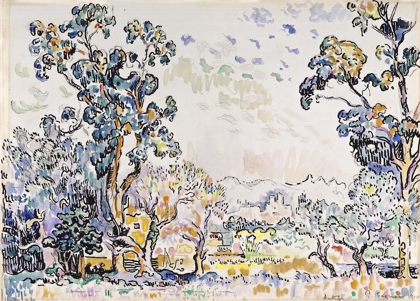 Paul Signac, Antibes, vue de La Salis, 1910, acquerello, penna e inchiostro di china, 31.5x44 cm, Collezione privata Fotografia: Maurice Aeschimann