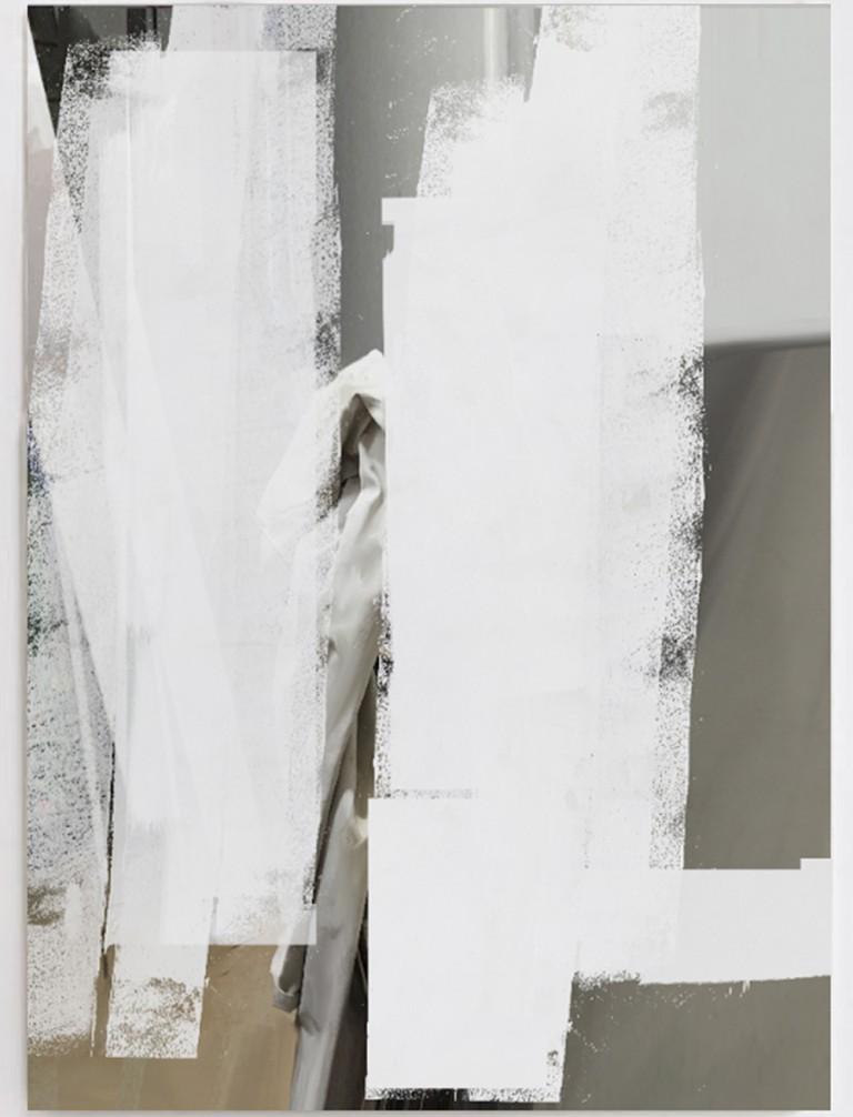Francesco De Prezzo, null drapp, 2015, acrylic, enamel, concrete, oil on canvas, cm. 120 x 90