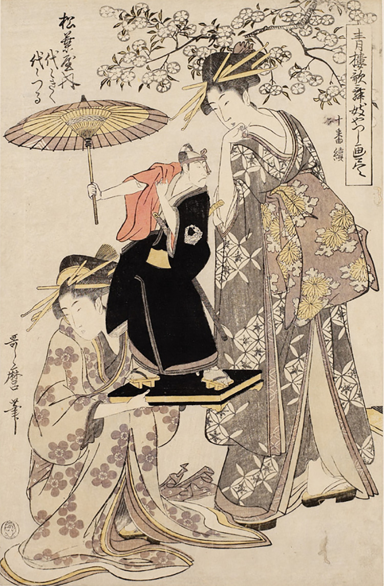 Kitagawa Utamaro, Yoyokiku and Yoyotsuru of the Matsubaya Haouse, 1801, xilografia, 38,6 x 25,1 cm, Honolulu Academy of Arts