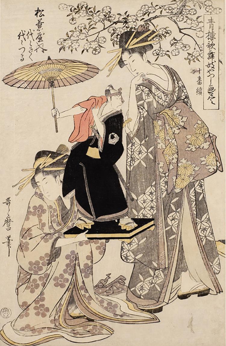 Kitagawa Utamaro, Yoyokiku and Yoyotsuru of the Matsubaya Haouse, 1801, xilografia, 38,6 x 25,1 cm, Honolulu Academy of Arts