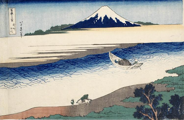Katsushika Hokusai, Il fiume Tama nella provincial di Musashi, 1830-1832, xilografia, 25,5 x 37, 4 cm, Honolulu Academy of Arts