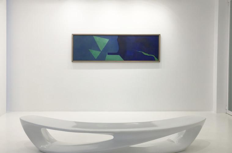 Galleria 2000 & Novecento, Enrico Della Torre, Proiezione di un fiume, 1995, olio su tela applicata su tavola, cm. 60,5x208,5