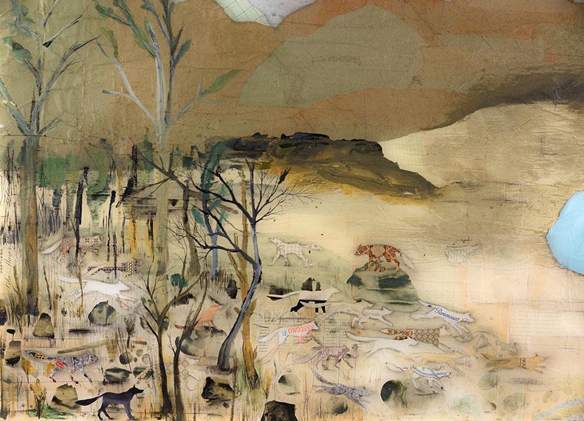 Denis Riva, Cambiamenti Improvvisi, 2016, Acrilico e pastello su collage di carte, cm 150x215