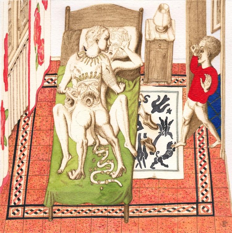 Ettore Tripodi, Senza Titolo, 2016, acquerello e china su carta, 33x35 cm Courtesy Studio d'Arte Cannaviello, Milano