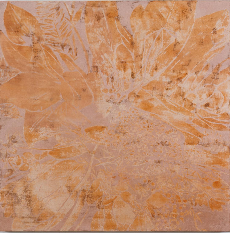 Francesco Clemente, Winter Flower, 2014 tecnica mista su lino, 152,4 x 152,4 cm collezione dell'artista, New York