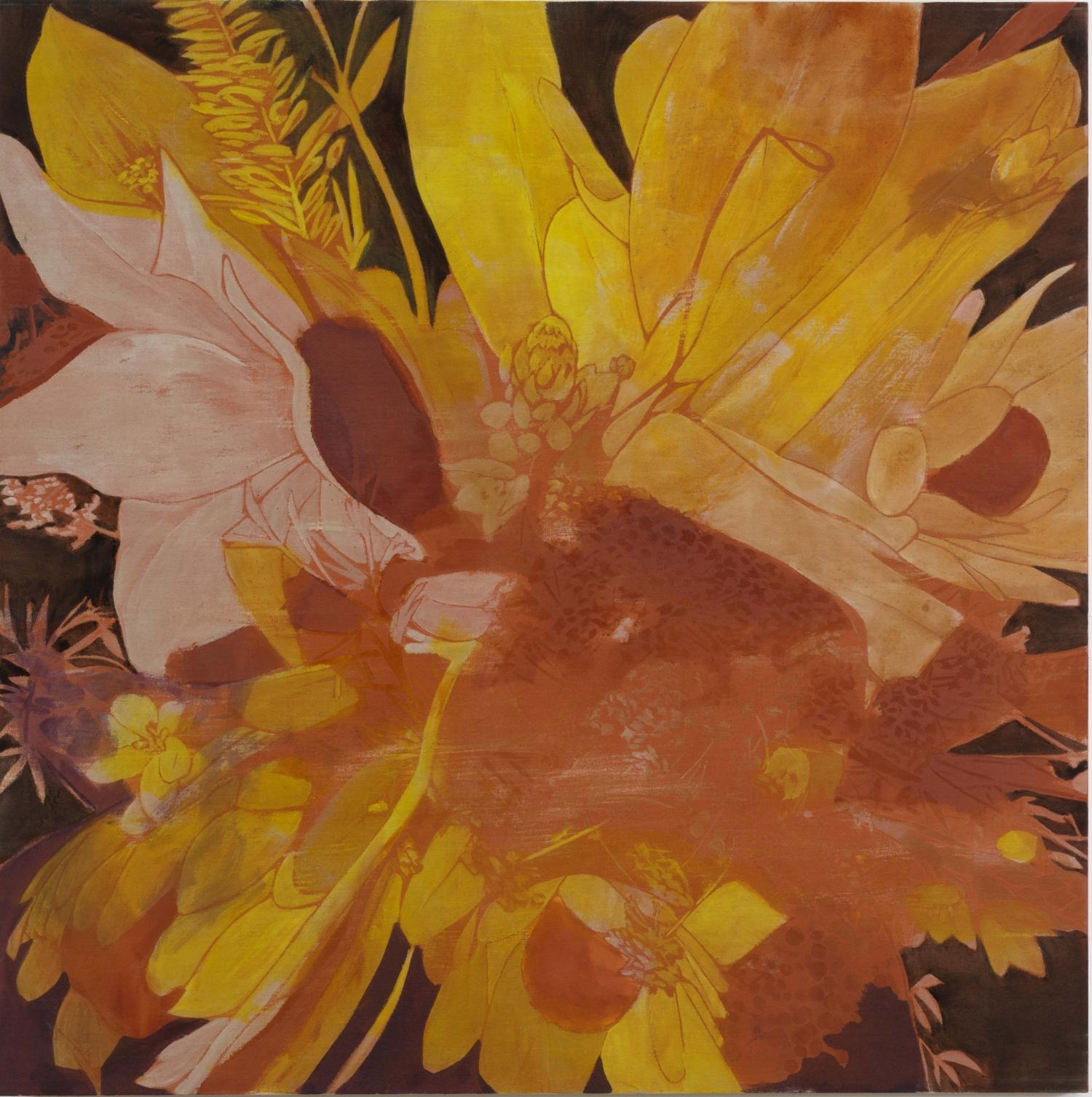 Winter Flower, 2014 tecnica mista su lino, 182,8 x 182,8 cm collezione dell'artista, New York