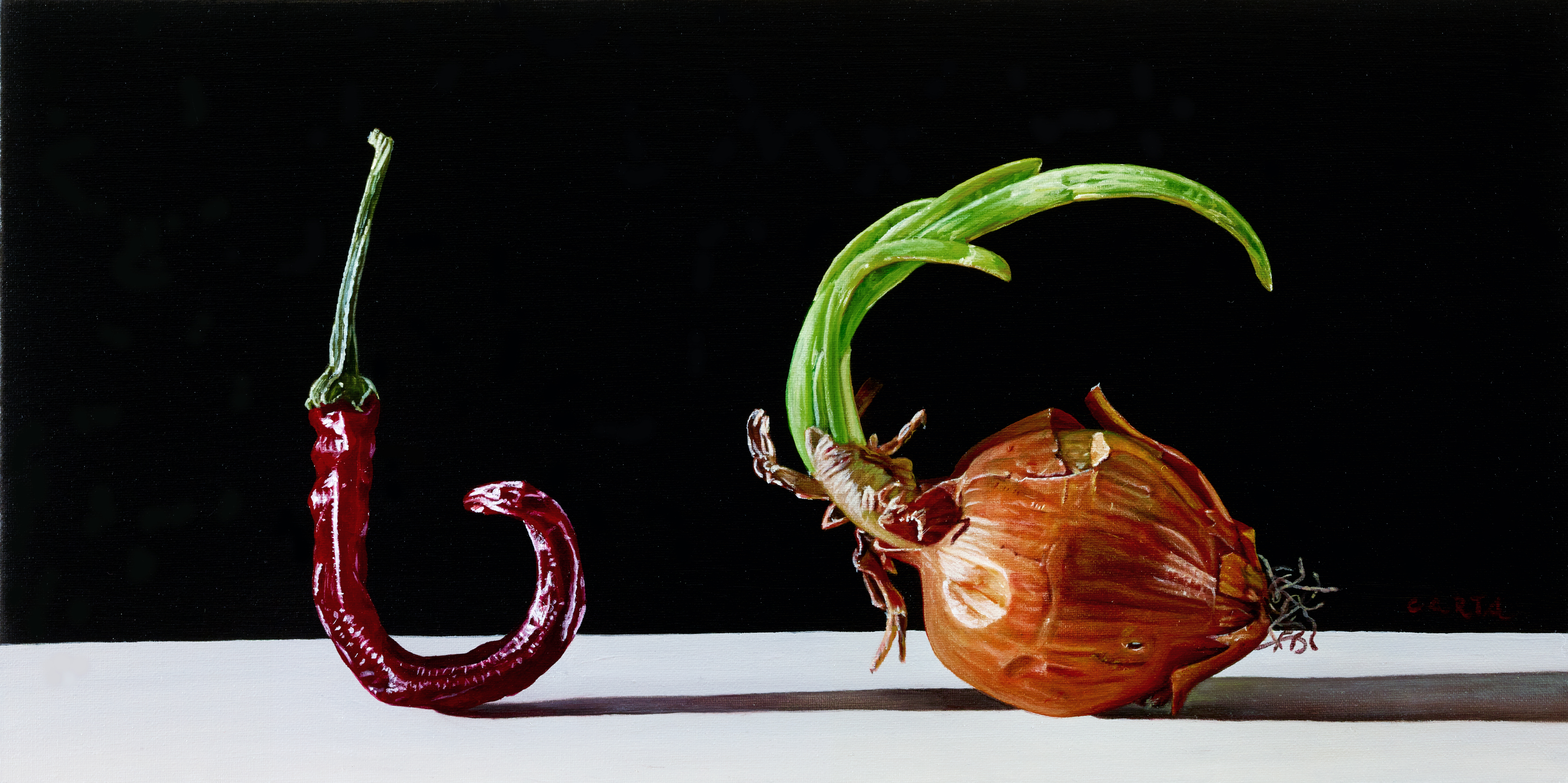 Giuseppe Carta, Il peperoncino e la cipolla, 2015-2016, olio su tela cm 17x34