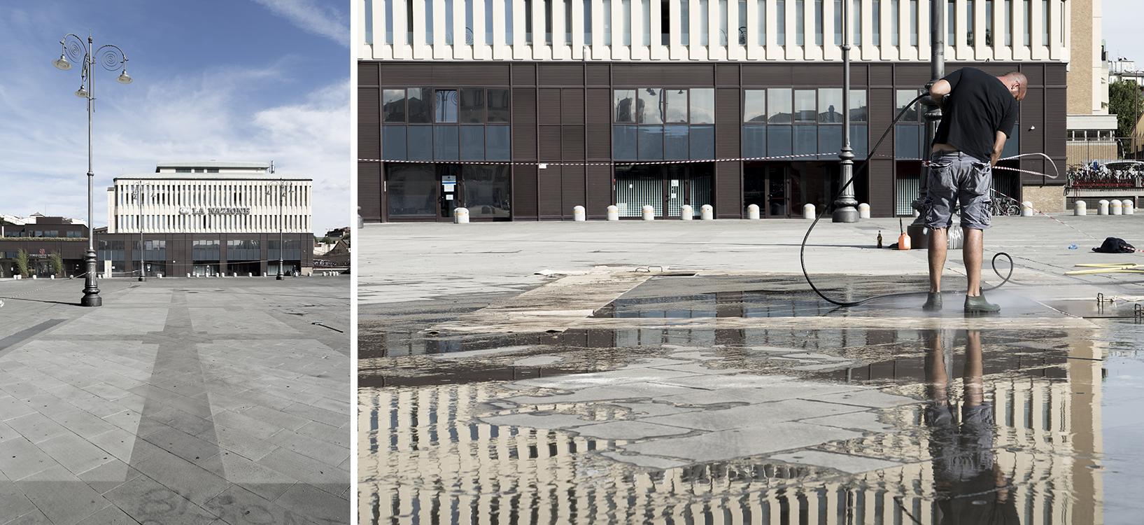 Il giardino cancellato - Architettura elisa per Largo Annigoni, Firenze, Intervento d'arte nello spazio pubblico (reverse graffiti), 2015