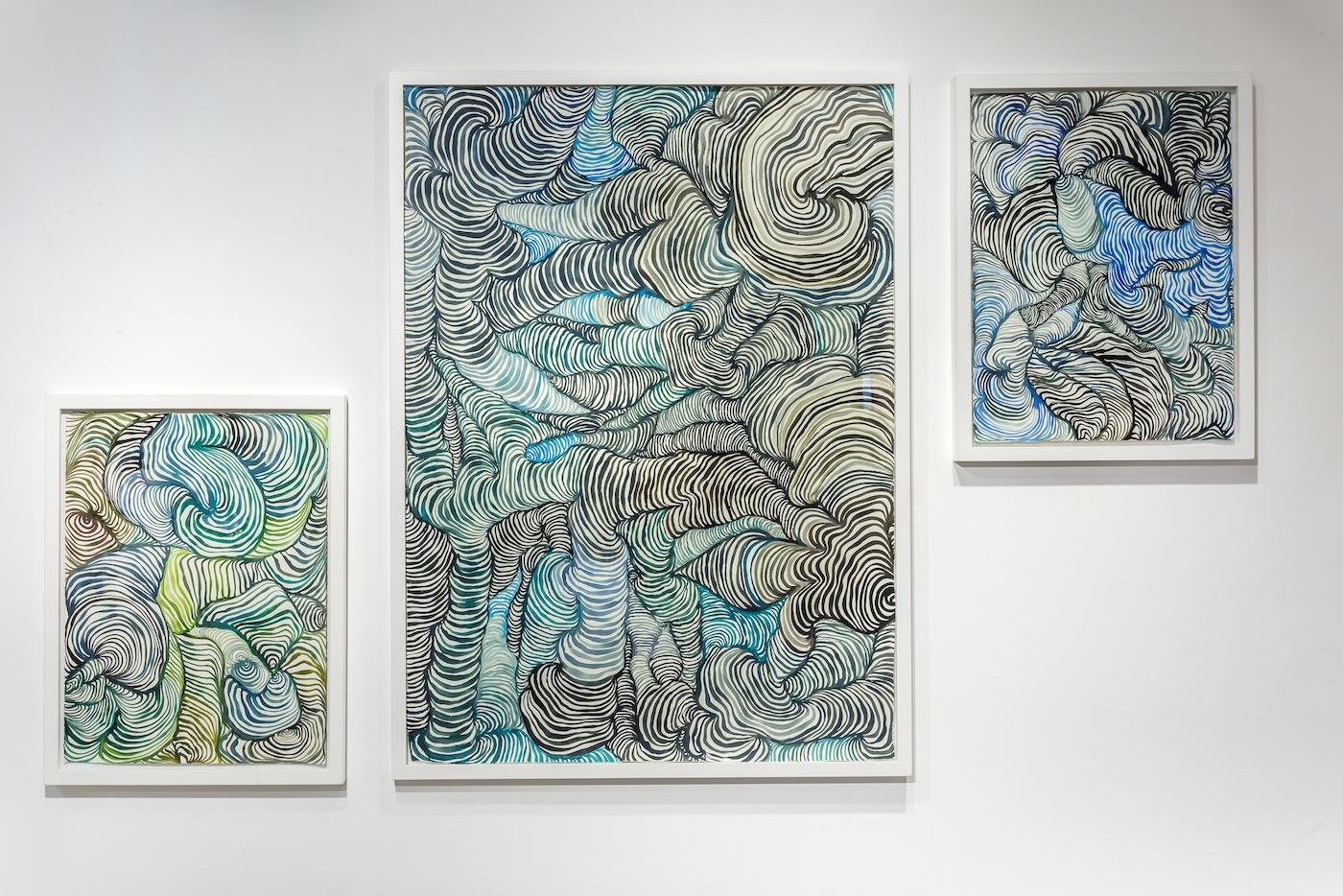 Maurizio Donzelli, Disegno del Quasi, cm 110 x 150, acrilico su carta puro cotone, 2016. Veduta della mostra Invisibile-No, Marignana Arte, Venezia