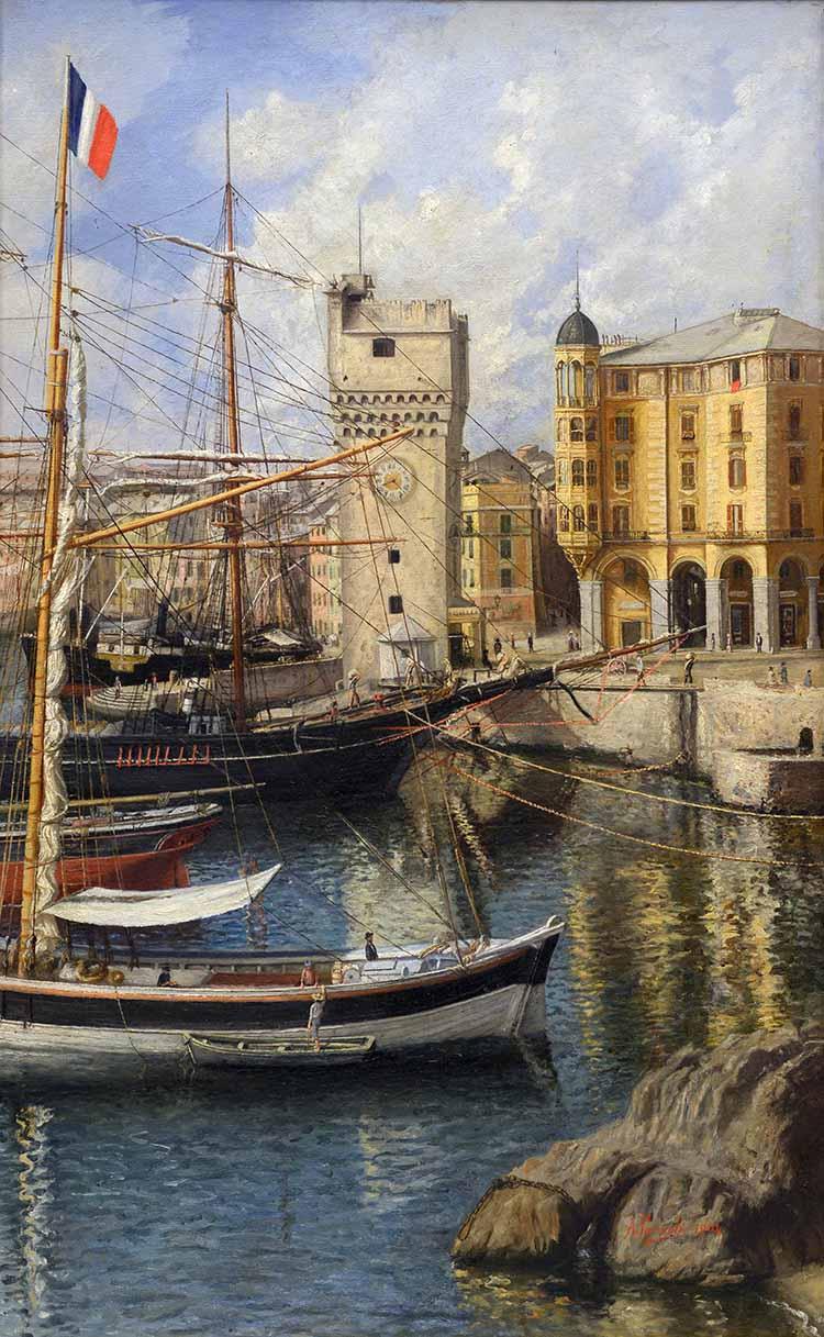Parodi Antonio, Porto di Savona, la torretta, 1904 olio su tela, cm 50x80
