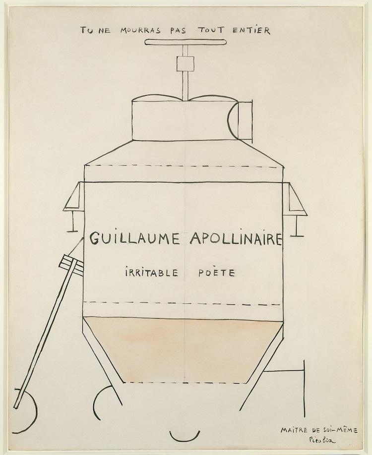 Francis Picabia, Guillaume Apollinaire, 1918, Tinte, Aquarell und Bleistift auf Papier, 58x45.7 cm, Collection Natalie and Léon Seroussi © 2016 ProLitteris, Zürich