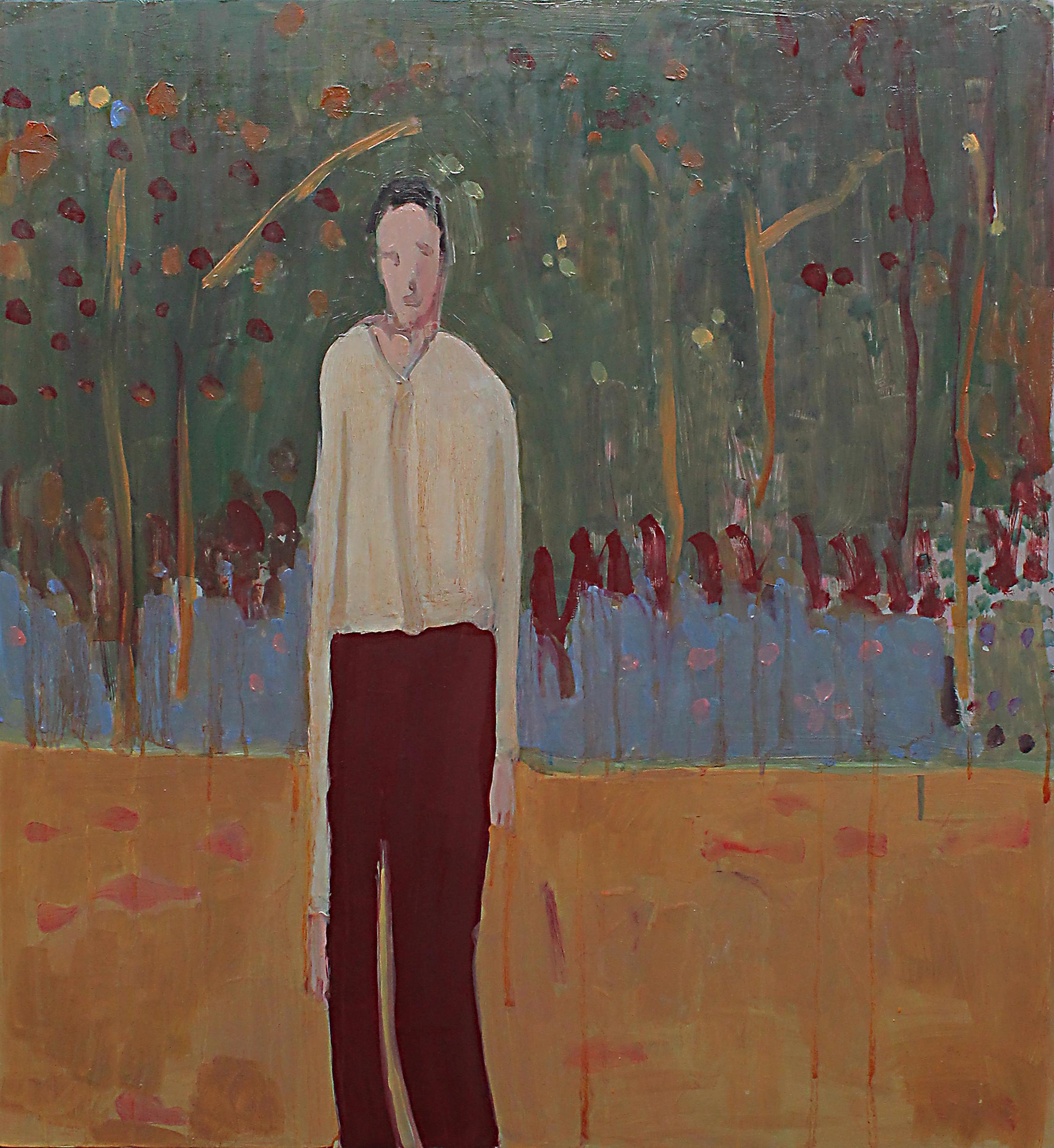 Francesco Cocco, Quando canta la luna il sole ha già mangiato, 2016, olio su tela, 90 x 80 cm