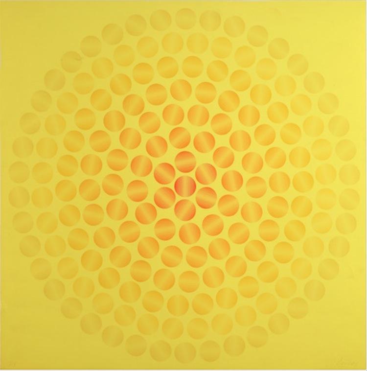Ivan Picelj, Untitled, from the Cyclophoria project, 1971 ca., silkscreen on paper, 68.2 × 68.2 cm Courtesy Museum of Contemporary Art, Zagreb; Anja Picelj-Kosak Photo by Damir Fabijanić