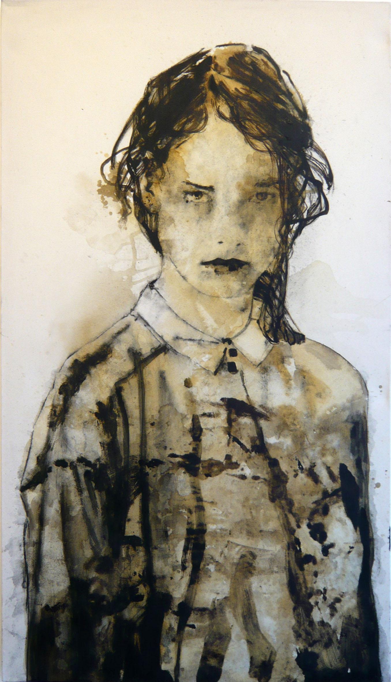 Domenico Grenci Charlene 1, 2016 Bitume e carboncino su tela 183x101 cm Courtesy: Galleria Alessandro Casciaro, Bolzano