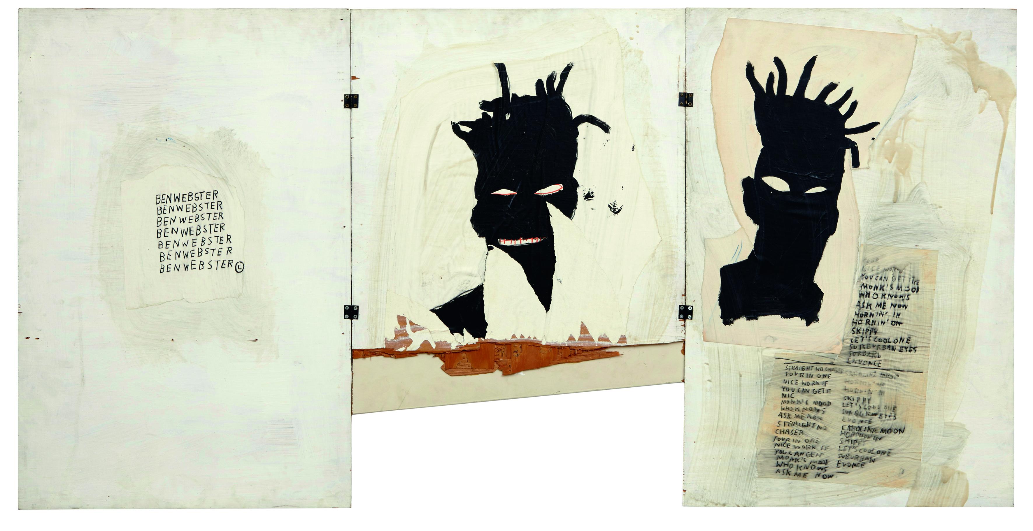 Jean-Michel Basquiat, Autoritratto, 1981, Acrilico, olio, pastello a olio e collage su tre tavole, cm 101,6 x 177,8, Mugrabi Collection © The Estate of Jean-Michel Basquiat by SIAE 2016
