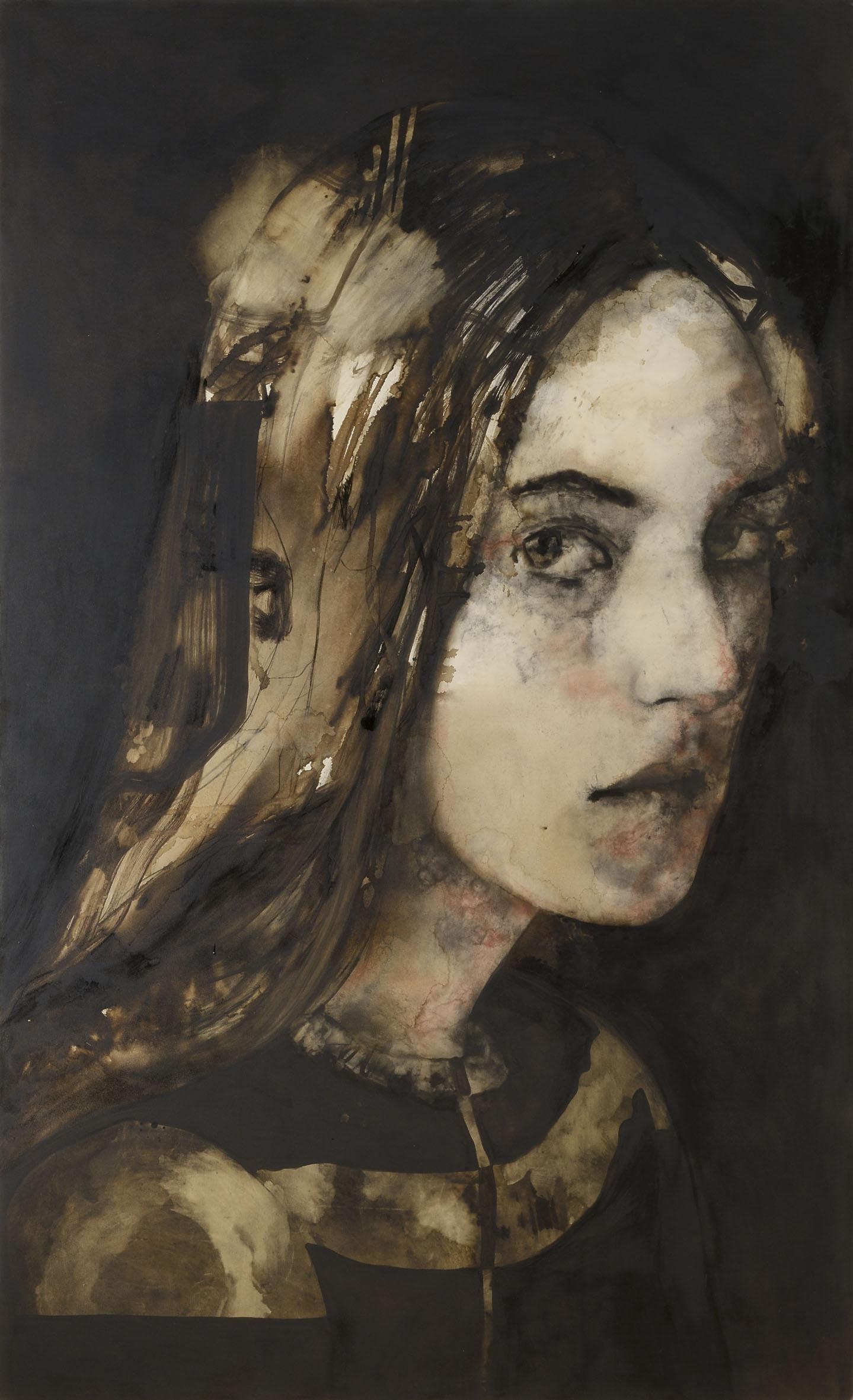 Domenico Grenci N., 2015 Bitume, carboncino e sanguigna su tela 300x180 cm Courtesy: Galleria Alessandro Casciaro, Bolzano