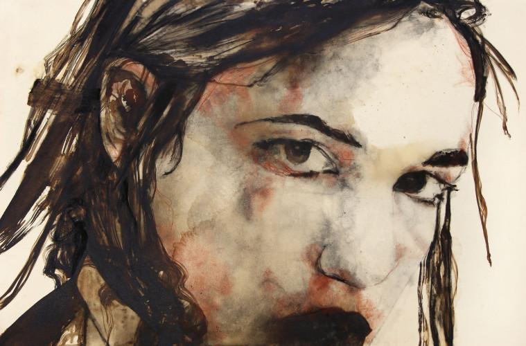 Domenico Grenci Johanna, 2015 Bitume, carboncino e sanguigna su tela 122x181 cm Courtesy: Galleria Alessandro Casciaro, Bolzano