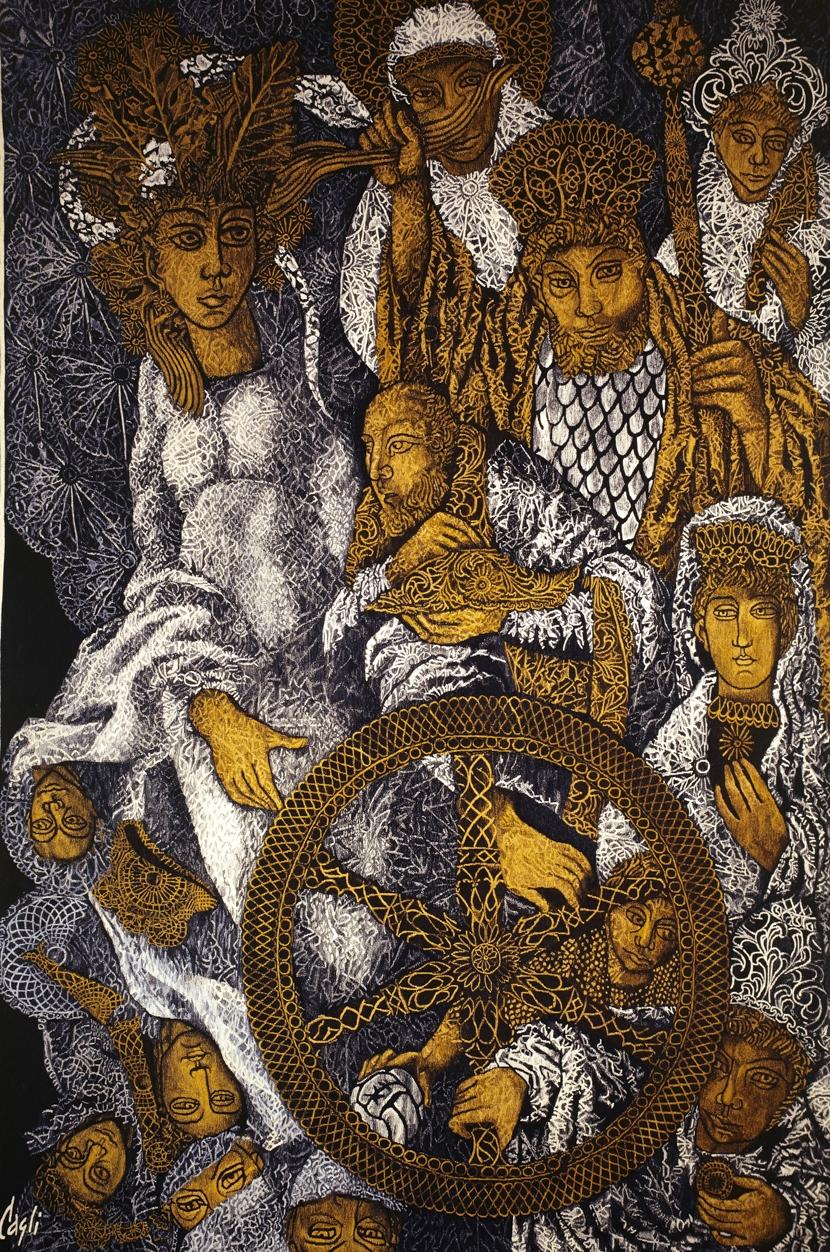 Da Corrado Cagli, La ruota della fortuna, 1969, Arazzeria Scassa di Asti, Roma, collezione privata