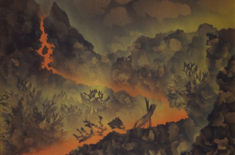 Corrado Cagli, Lava a sud-ovest, 1971, olio su tela, Roma, collezione privata
