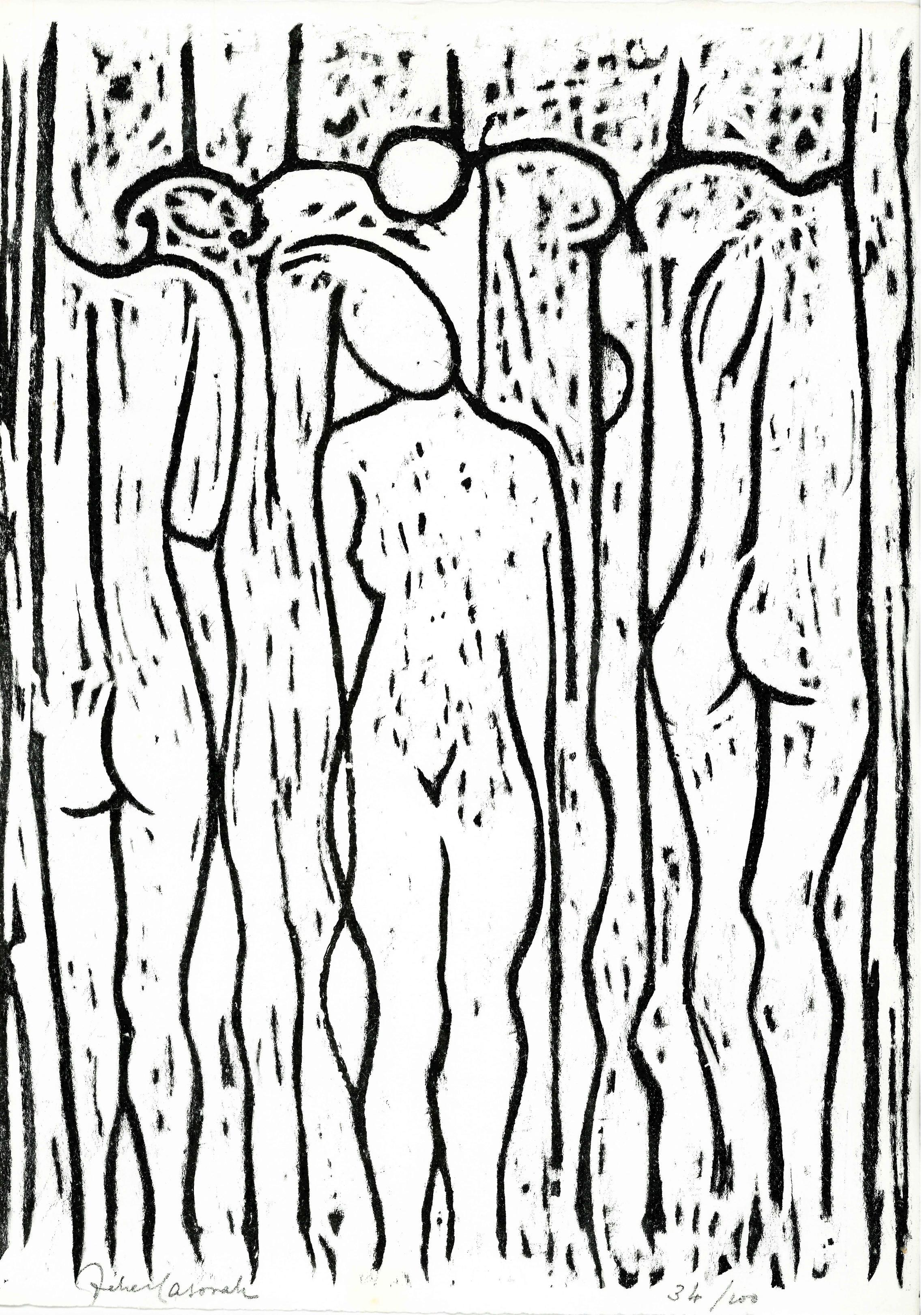"""Felice Casorati, litografia tratta dalla cartella """"Paul Valéry, Cantique des Colonnes"""", 1959"""