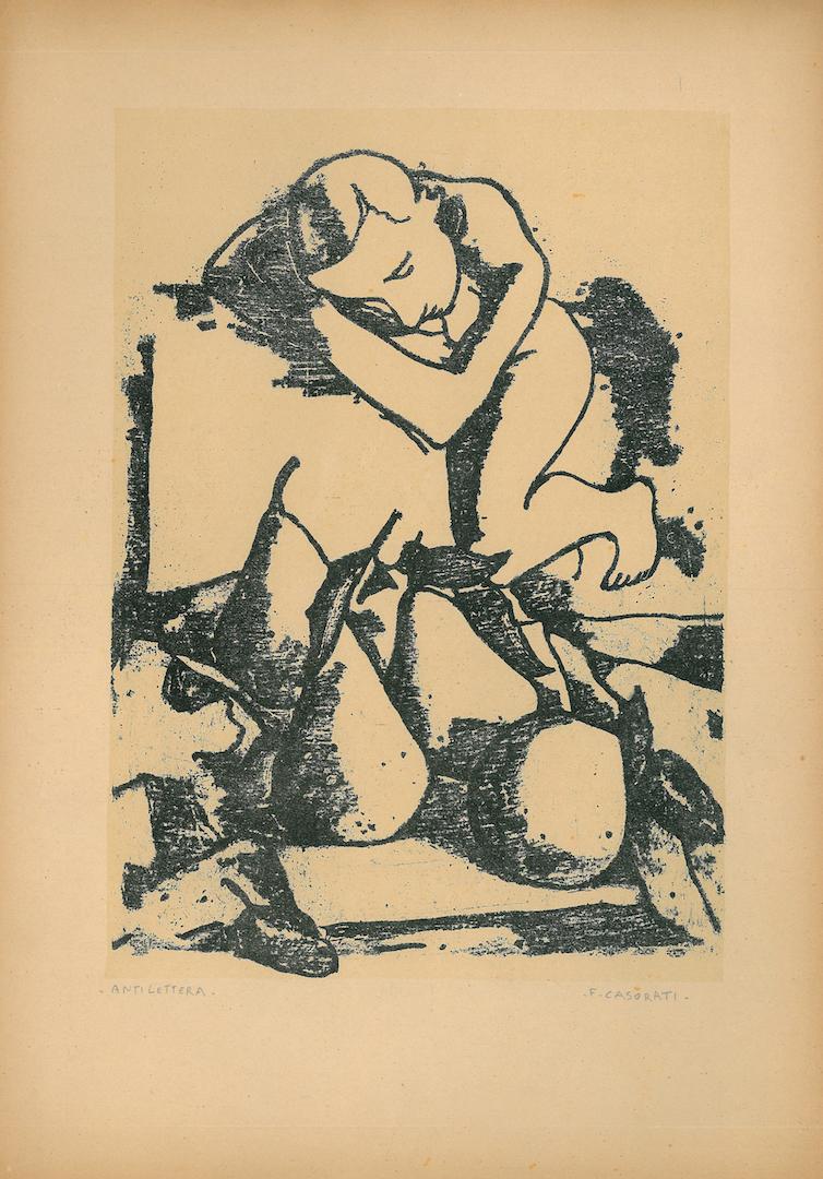 Felice Casorati, Nudo e pere, 1946