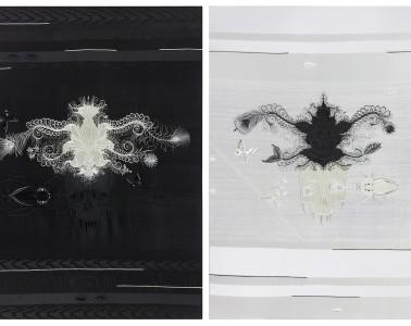 Angelo Filomeno, Amulet (Black and White), 2012, ricamo e cristalli su seta applicata su lino, cm 102x75 (dittico). Courtesy: Angelo Filomeno  / Galerie Lelong, New York /  Galleria Giovanni Bonelli, Milano