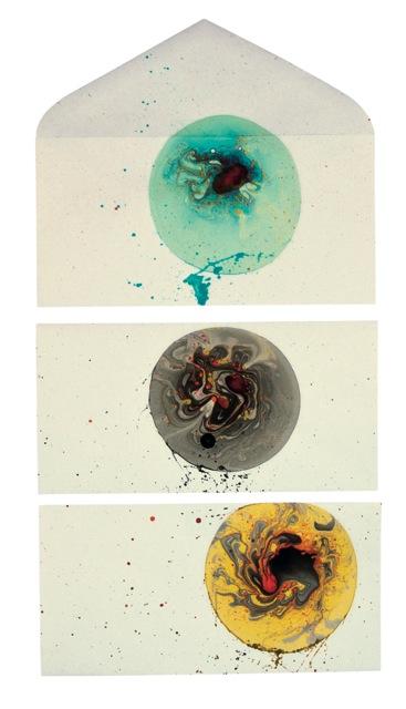 Giulio Cassanelli,Ready mail, sapone, inchiostro e gravità, 22x16 cm, (2x) 22x11 cm, 2016