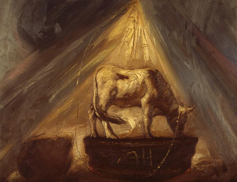 Omar Galliani, Agnus Dei, 1985, olio su tela, cm. 60x80