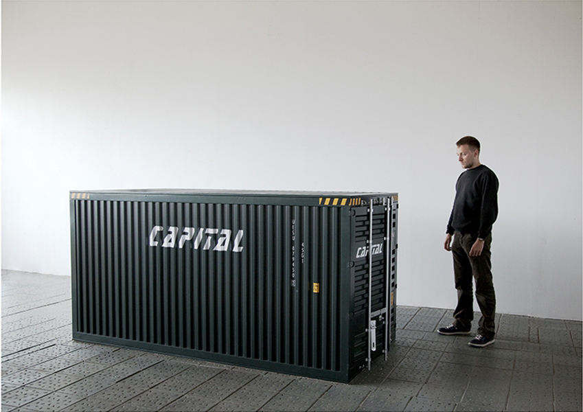 HUMAN CAPITAL, 2010, Installation, Wood, aluminum, iron, plastic, 127x248x12 cm