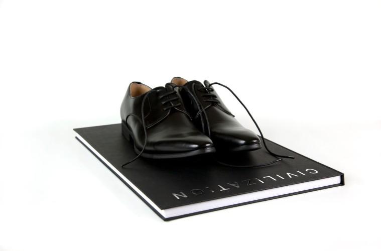 Mounir Fatmi, Civilization, 2013, the artist's shoes, book, cm edition 35, Courtesy Analix Forever Art Contemporain, Ginevra