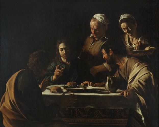 Michelangelo Merisi detto il Caravaggio, Cena in Emmaus, 1606, olio su tela, 141x175 cm, Pinacoteca di Brera, Milano