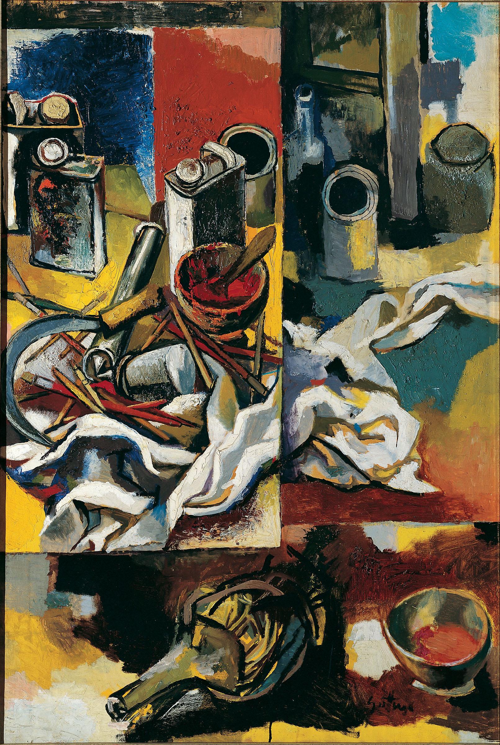 Renato Guttuso, Pagina di nature morte, 1958 Olio su carta intelata, cm 121x82 Macerata, Fondazione Carima - Museo Palazzo Ricci © Renato Guttuso by SIAE 2016