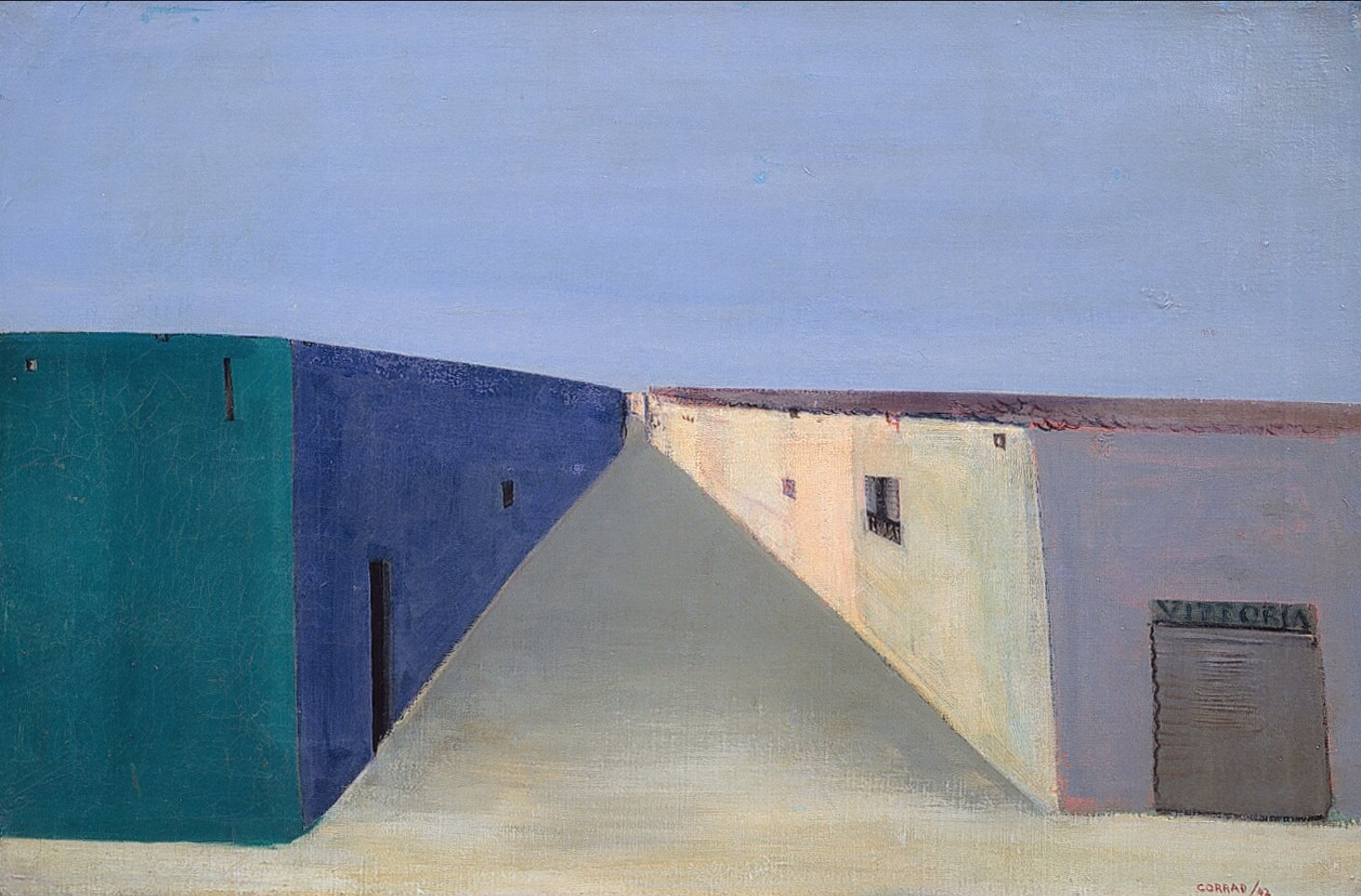 Adobe Houses (Desolate Street), 1942, olio su tela, 45,5x69 cm. Courtesy Galleria Open Art